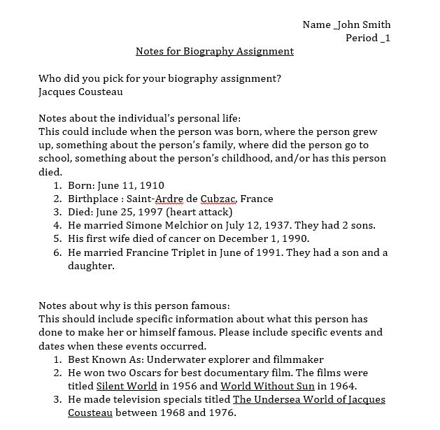 Biography Report - Middle School Computer Projects
